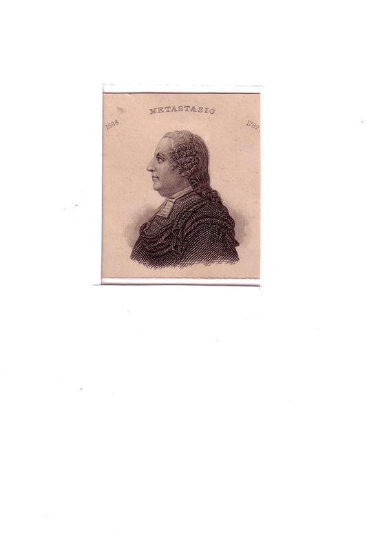 PORTRAIT Pietro Metastasio. (1698 Rom - 1782 Wien; italienischer Dichter u. Librettist). Schulterstück en profil. Stahlstich.