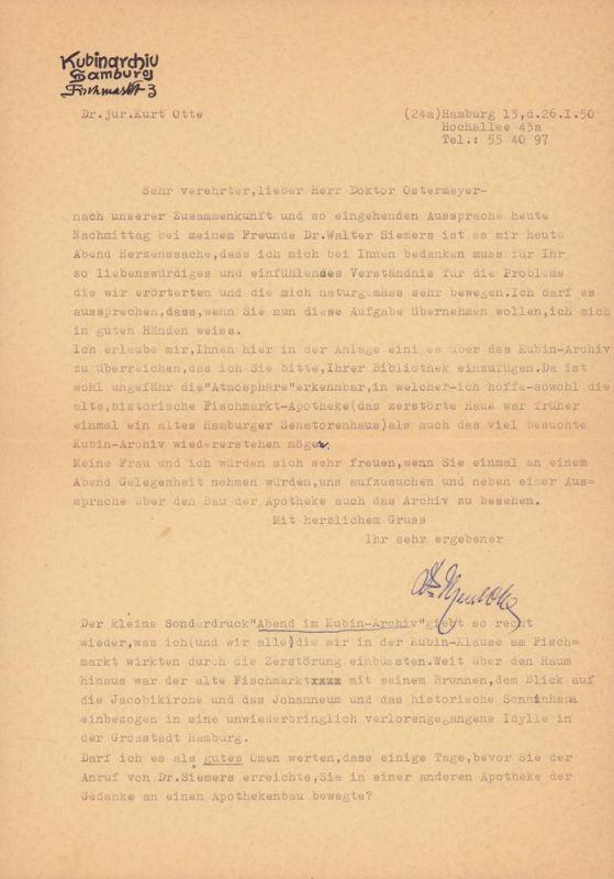 Otte, Kurt. Maschinenschriftlicher Brief an den Hamburger Architekten Friedrich Richard Ostermeyer. Unterzeichnet vom Leiter des Kubin Archivs Kurt Otte.
