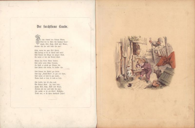 Pletsch, Oskar. -. Blatt für Blatt. Eine zweite Sammlung acht farbiger Bilder nach Original-Zeichnungen von Oskar Pletsch. Lithographirt von Heinrich Stelzner. Mit Text.