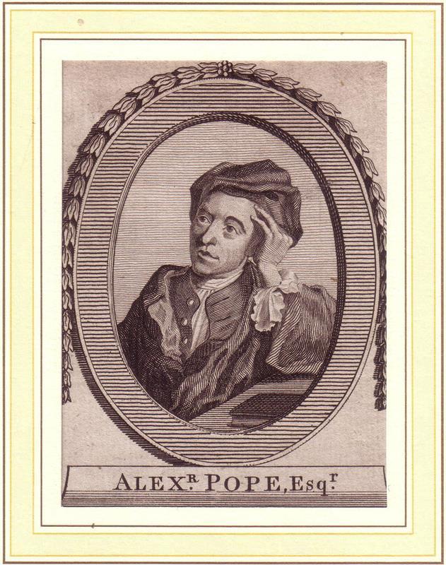 PORTRAIT Alexander Pope. (1688 London - 1744 Twickenham, Dichter und Übersetzer). Brustbild im Dreiviertelprofil und lorbeerbekränzter Ovalumrahmung. Kupferstich.
