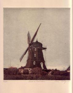 Mühle bei Simrishamn. Aquatintaradierung in Schwarz, Braun, Orange u. Weiß.