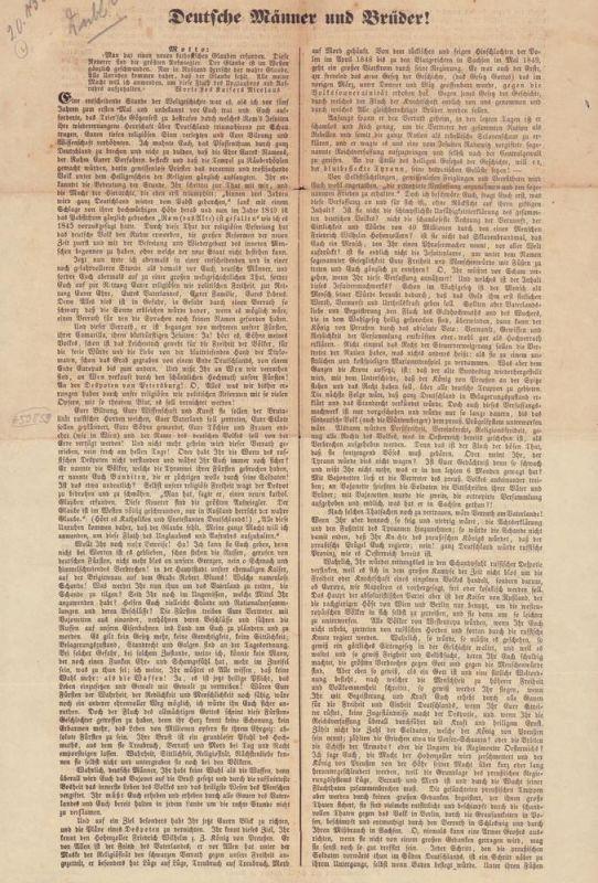 Ronge, Johannes. Deutsche Männer und Brüder!. (Europa darf nicht kosakisch, Europa muß frei werden!). (Hamburg, den 12. Juni 1849).