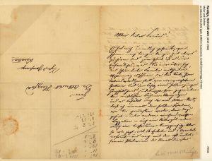 Eigenhändiger Brief m. Unterschrift u. Adresse. Mit schwarzer Tinte auf einfachem, karierten Papier. Stuttgart, 14.4.1890.