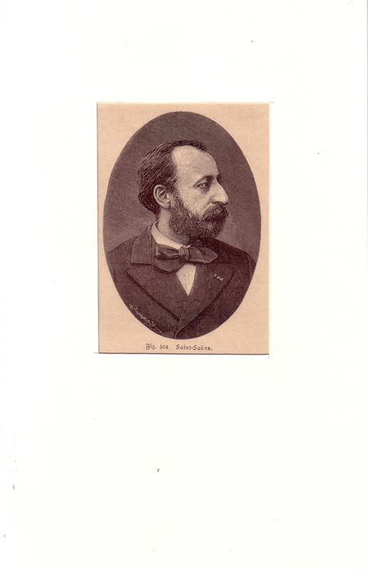 Saint-Saens, Charles Camille. -. PORTRAIT Saint-Saens. (1835 Paris - 1921 Algier, Pianist, Organist, Komponist). Brustbild im Halbprofil. Holzstich von H. Gramm.