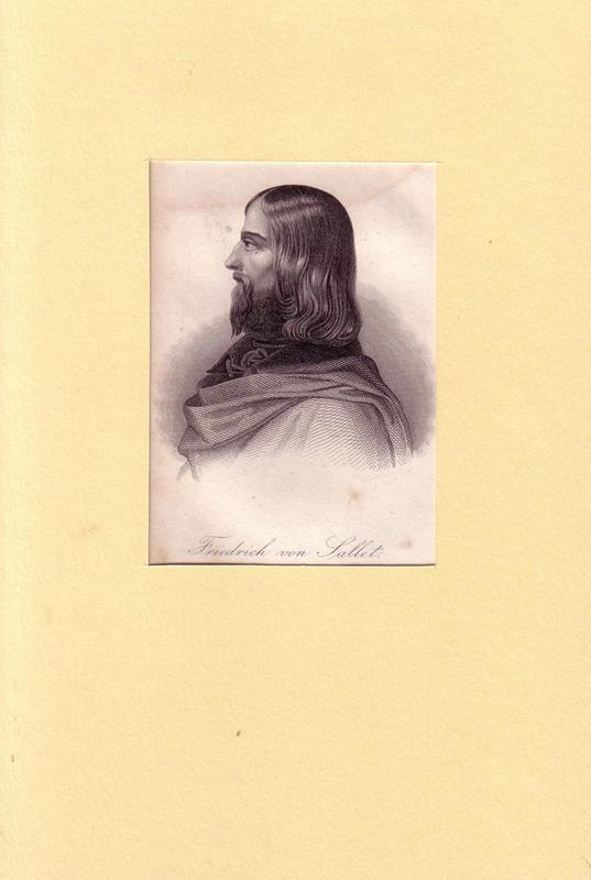 Sallet, Friedrich von. -. PORTRAIT Friedrich von Sallet. (1812 Neiße - 1843 Reichenau (Schlesien), Schriftsteller). Schulterstück en profil. Stahlstich.