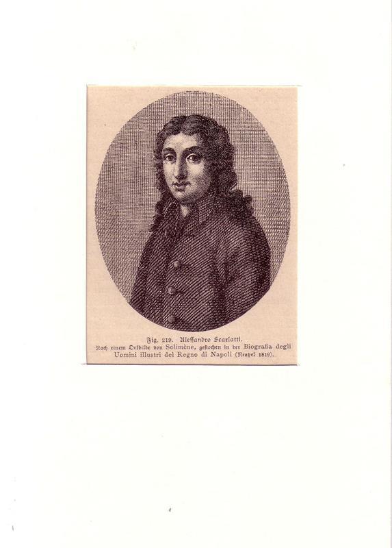 PORTRAIT Alessandro Scarlatti. (1660 Trapani oder Palermo [?] - 1725 Neapel, Komponist). Brustbild im Dreiviertelprofil. Holzstich nach einem Ölbild von Francesco Solimena.
