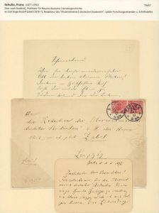 Eigenhändige Karte mit Unterschrift u. Briefumschlag. Mit schwarzer Tinte beidseitig beschrieben. Berlin, d. 10.VI.1897.