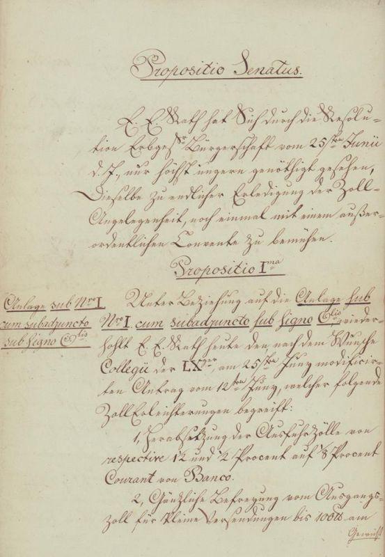 Handgeschriebene Senatsvorlage (Anträge). Propositio in Conventu Senatus et Civium. [Dies] Jovis d. 21ten Augusti 1823. (Nebst Anlagen).