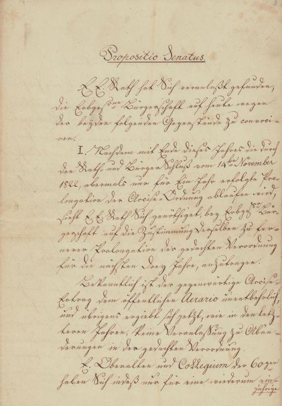 Handgeschriebene Senatsvorlage (Anträge). Nebst 1 Anlage.