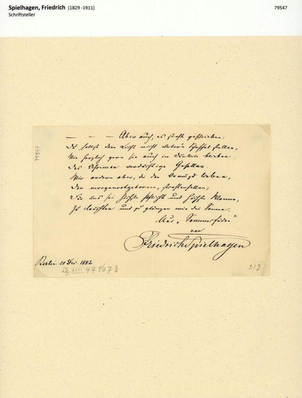 """Spielhagen, Friedrich (1829 -1911), Schriftsteller. Eigenhändiges Albumblatt mit einer Strophe aus seinem Gedicht """"Sommerfäden"""". Mit Unterschrift. Mit schwarzer Tinte auf geripptem Bütten. Berlin, 28. Dec. 1882."""