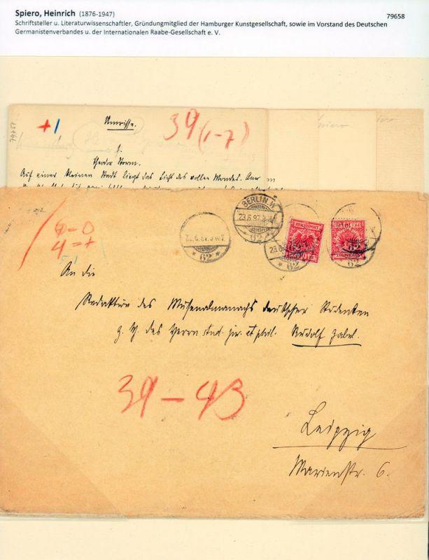 Spiero, Heinrich (1876-1947), Schriftsteller u. Literaturwissenschaftler. Zwei eigenhändige Manuskripte [ohne Unterschrift]. Mit schwarzer Tinte in deutscher Kurrentschrift geschrieben. Charlottenburg [1897].