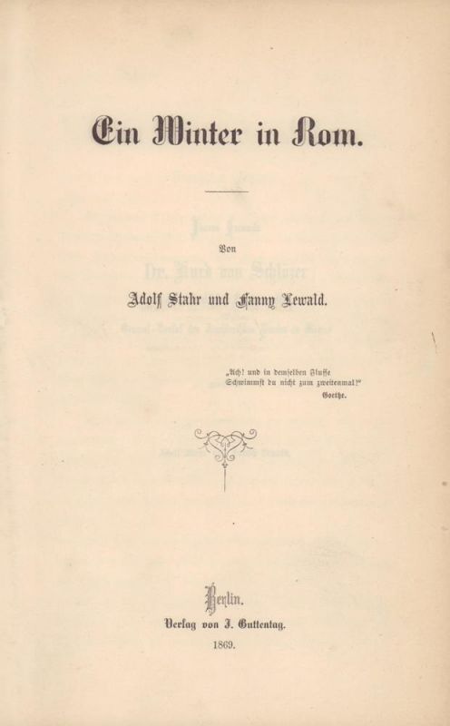Stahr, Adolf / Lewald, Fanny. Ein Winter in Rom.