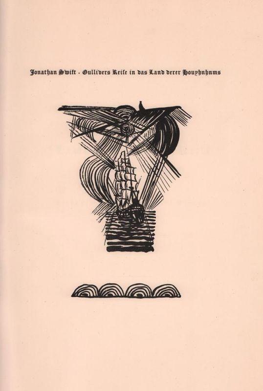 Des Capitain Lemuel Gullivers Reise in das Land derer Houyhnhnms. (Aus dem Englischen). Lithographien von Richard Janthur.