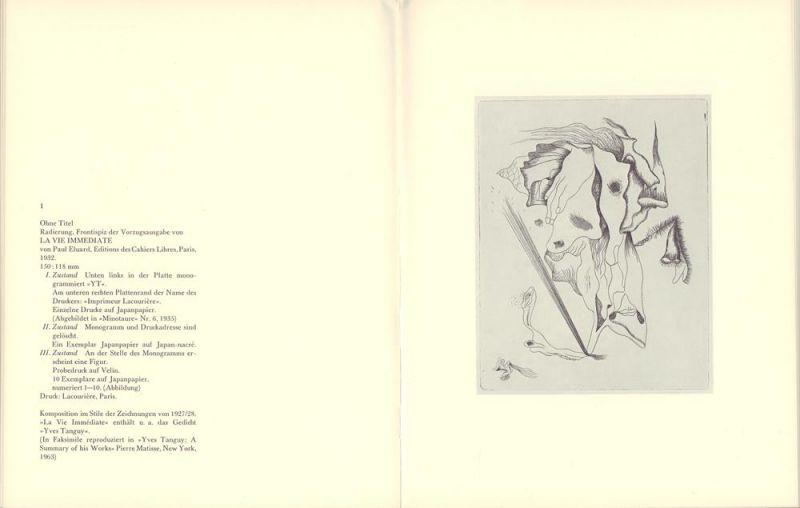 Tanguy, Yves. -. Yves Tanguy. Das druckgraphische Werk / L'oeuvre grave / The graphic work. Ausstellung April / Mai 1976. Wolfgang Wittrock, Kunsthandel, Düsseldorf.