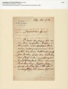 """Eigenhändiger Brief mit eigenhändiger Unterschrift. Mit schwarzer Tinte in deutscher Kurrentschrift auf Briefpapier mit dem Aufdruck """"Geh.-Cabinet Sr. Hoheit des Herzogs von S. Coburg-Gotha"""", datiert Jan. 17. 74."""