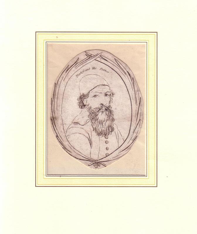 """PORTRAIT Tradescant d. Ä. (1570-1638, Gärtner, Botaniker). Schulterstück im Dreiviertelprofil. Kupferstich, mit Überschrift """"Tradescant the Father""""."""