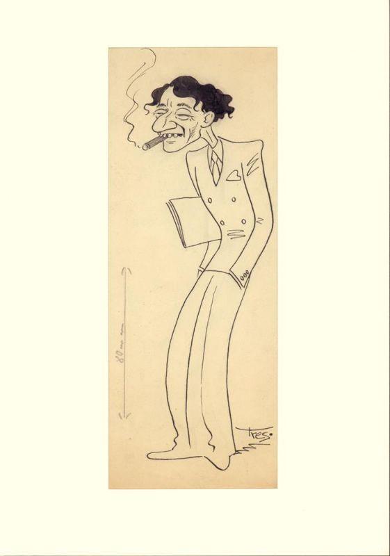 """Karikatur ohne Titel. Original-Federzeichnung in schwarzer Tusche von """"Tres."""" [Signatur]."""