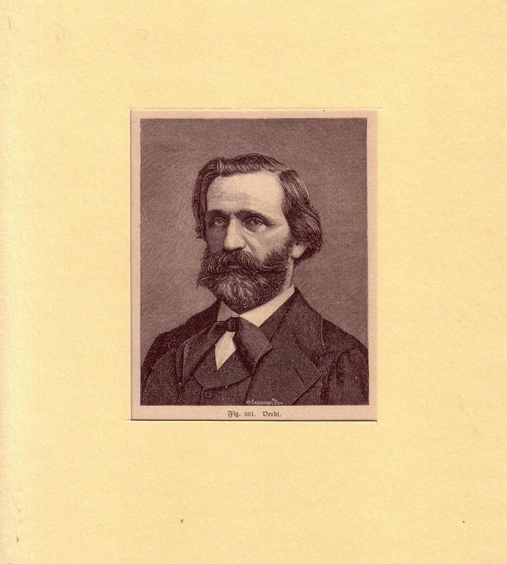Verdi, Giuseppe. -. PORTRAIT Giuseppe Verdi. (1813 Le Roncole - 1901 Mailand, Komponist). Schulterstück im Dreiviertelprofil. Holzstich.