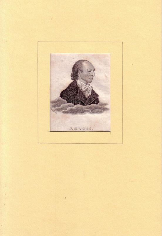 Voß, Johann Heinrich. -. PORTRAIT Johann Heinrich Voß. (1751 Sommerstorf bei Waren (Müritz) - 1826 Heidelberg, Dichter u. Übersetzer). Schulterstück im Halbprofil. Stahlstich, tls. in Punktiermanier, von Falck.