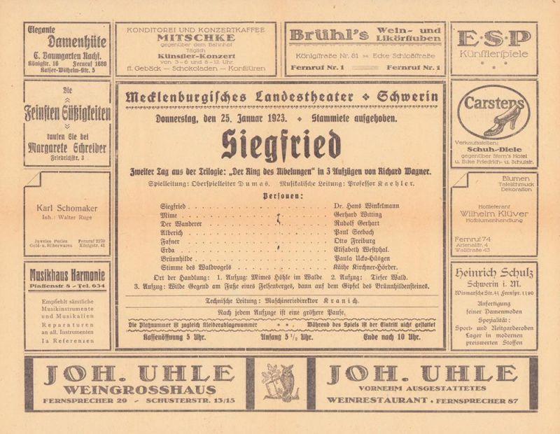 """Siegfried. [Programmheft]. Zweiter Tag aus der Trilogie """"Der Ring des Nibelungen"""" in 3 Aufzügen von Richard Wagner. Mecklenburgisches Landestheater Schwerin, Donnerstag, den 25. Januar 1923."""
