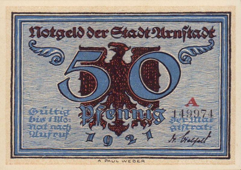 Notgeld der Stadt Arnstadt: 50 Pfennig. Vollständiger Satz von 6 Varianten.