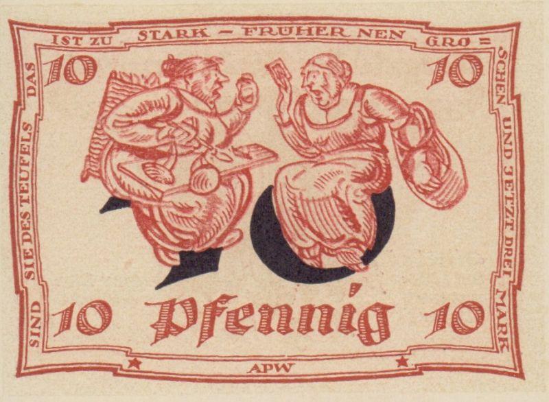 Notgeld der Stadt Arnstadt: 10 Pfennig. Vollständiger Satz mit 6 Varianten.