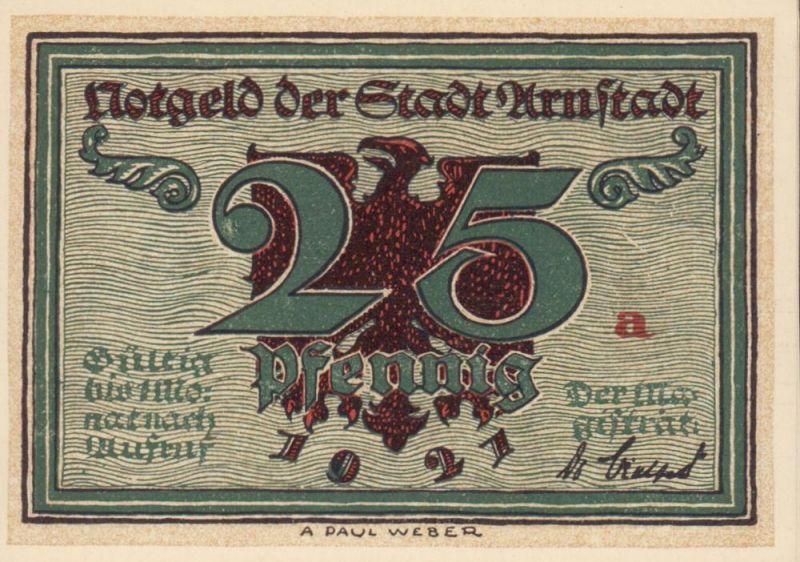 Notgeld der Stadt Arnstadt: 25 Pfennig. Vollständiger Satz mit 6 Varianten.