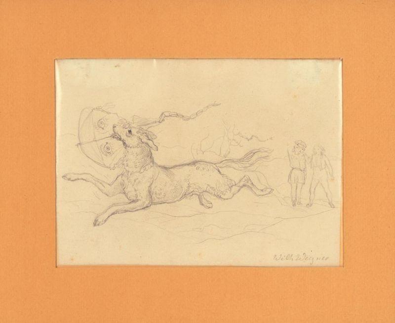 Wegener, (Johann Friedrich) Wilhelm. Bleistiftskizze.