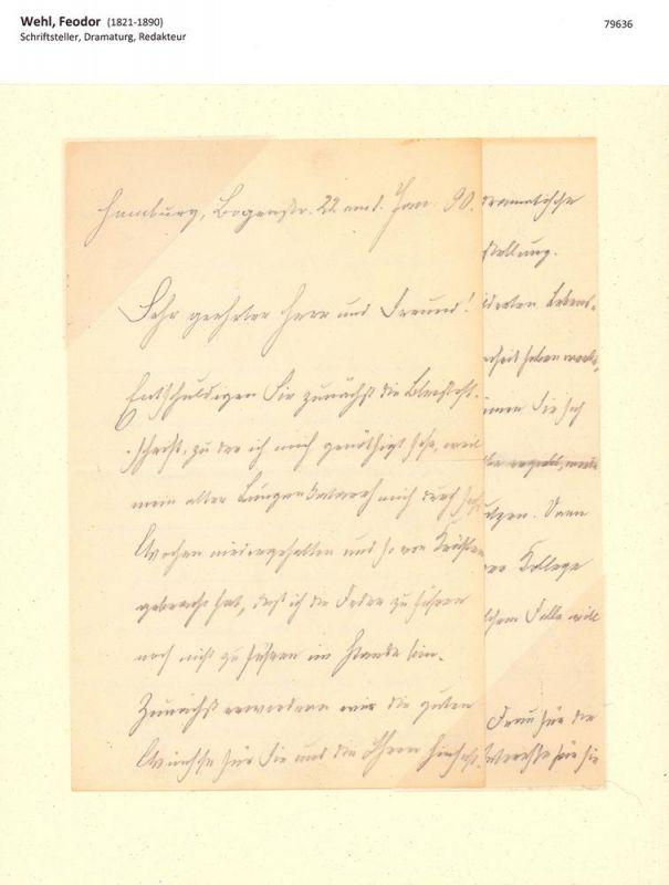 Wehl, Feodor (1821-1890), Schriftsteller, Dramaturg, Redakteur. Eigenhändiger Brief mit Unterschrift. Mit Bleistift auf liniiertem Schreibpapier. Hamburg, Bogenstr. 22 am 1. Jan. 90.