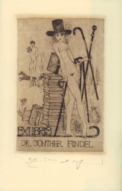 Weidenhaus, Elfriede. Exlibris Dr. Günther Findel. Radierung.