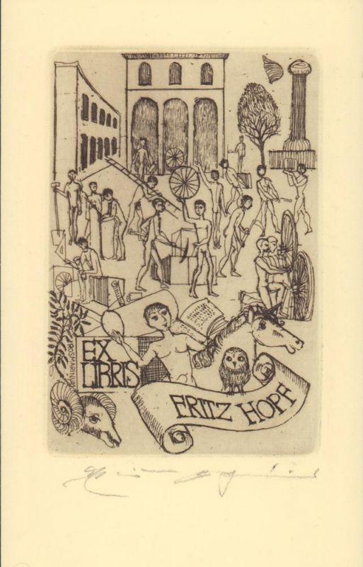 Weidenhaus, Elfriede. Exlibris Fritz Hopf. Radierung.