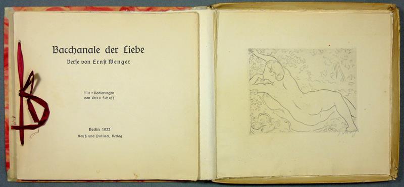 Wenger, Ernst. Bacchanale der Liebe. Verse von Ernst Wenger. Mit 7 Radierungen von Otto Schoff.
