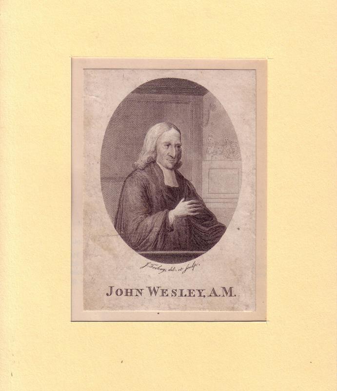 PORTRAIT John Wesley. (1703 Epworth - 1791 London, Theologe). Halbfigur im Dreiviertelprofil. Kupferstich um 1790, gezeichnet u. gestochen von J. Tookey,.