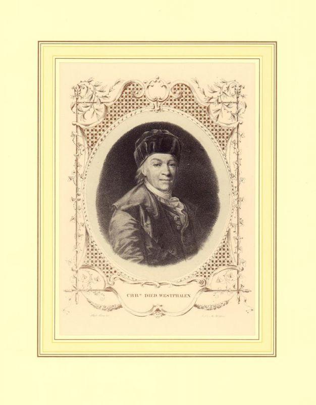 PORTRAIT Christoph Diedrich Westphalen. (1728-1814, Lehrer der St. Petrischule in Hamburg). Brustbild, en face. Aufgewalzte Lithographie v. Conrad Kiesel mit oval bronzierter, floraler Umrankung.