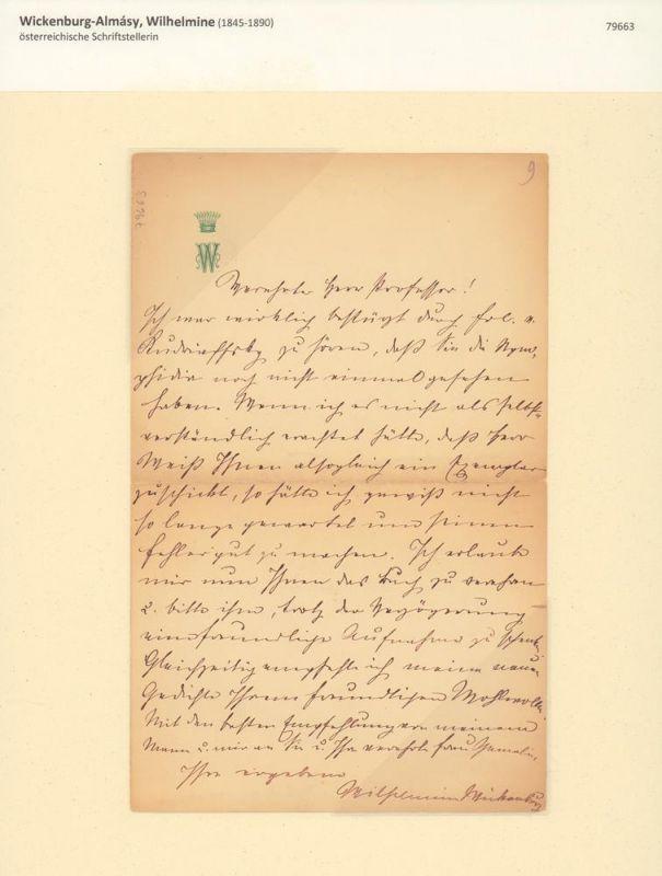 Wickenburg-Almásy, Wilhelmine (1845-1890), österreichische Schriftstellerin. Eigenhändiger Brief mit eigenhändiger Unterschrift, undatiert.