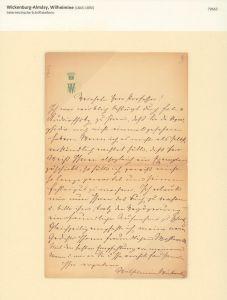 Eigenhändiger Brief mit eigenhändiger Unterschrift, undatiert.