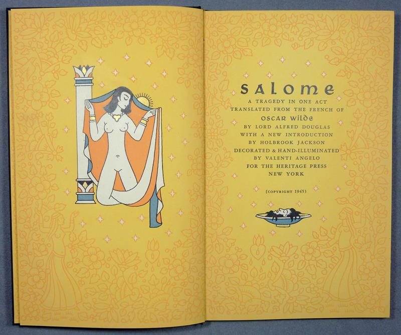 Wilde, Oscar. Salome. A tragedy in one act. Translated from the French of Oscar Wilde by Alfred Douglas. With a new introduction by Holbrook Jackson. Decorated and hand-illuminated by Valenti Angelo.