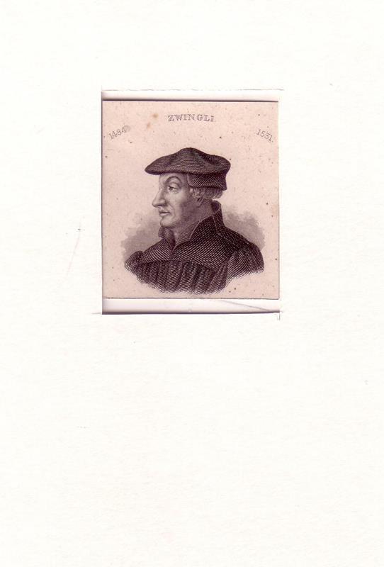 PORTRAIT Zwingli. (1484 Wildhaus - 1531 Kappel am Albis, Schweizer Theologe). Schulterstück en profil. Stahlstich.