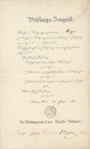 """Prüfungs-Zeugniß zur höheren Telegraphenverwaltungs-Prüfung. Ausgestellt auf """"Telegraphensecretair Meyer"""", datiert 30. Juni 1882."""