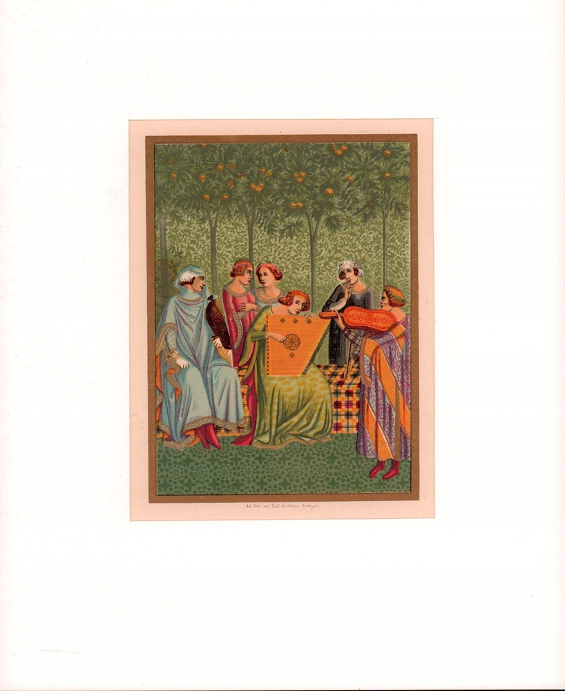 """Il sogno della vita. Aus dem Orcagna zugeschriebenen Gemälde: """"Der Triumph des Todes"""" im campo santo zu Pisa. Farblithographie mit Golddruck. 0"""