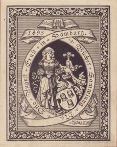 """Exlibris """"Bücher-Sammlung Otto August Ernst in Hamburg 1895"""". Zinkätzung, auf Pappe montiert."""