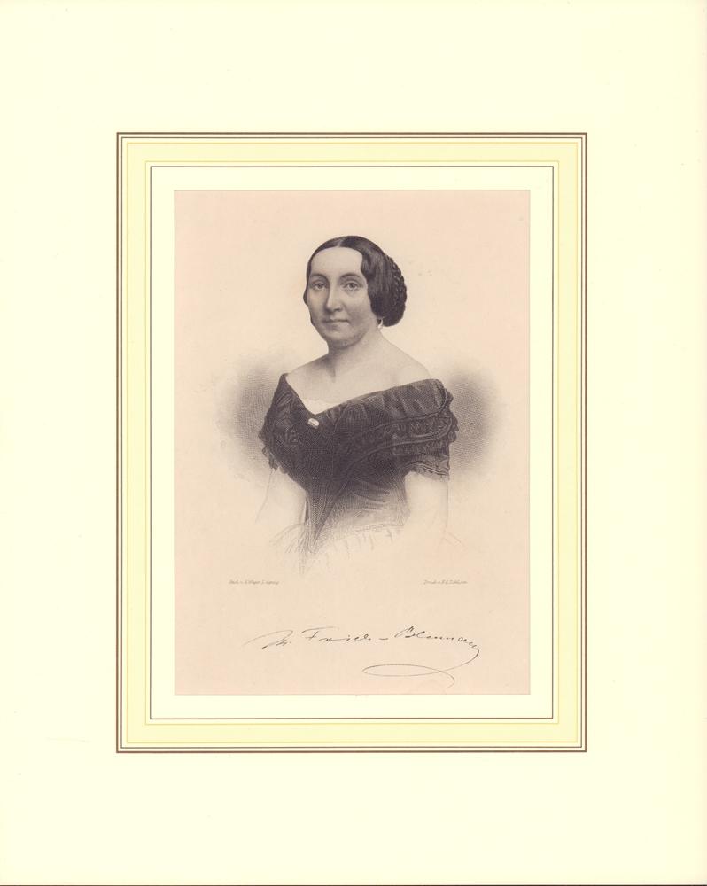 Porträt Minona Frieb-Blumauer. Halbfigur im Dreiviertel-Profil. Stahlstich von A. Weger, Leipzig. 0