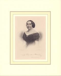 Porträt Minona Frieb-Blumauer. Halbfigur im Dreiviertel-Profil. Stahlstich von A. Weger, Leipzig.
