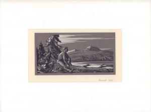 Rastender Jäger vor nordischer Berglandschaft mit See. Siebdruck von 3 Sieben (ohne Titel).