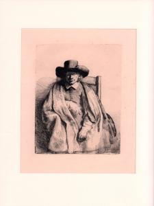 Clement de Jonghe. Heliogravure nach einer Radierung von Rembrandt. Dreiviertelfigur.