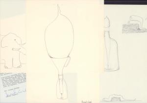 """Masch. Brief mit U. """"Bernhard Sinkel"""" u. 3 signierte Doodles in schwarzer Tinte. Mit Absenderstempel. Zus. 5 Blätter."""