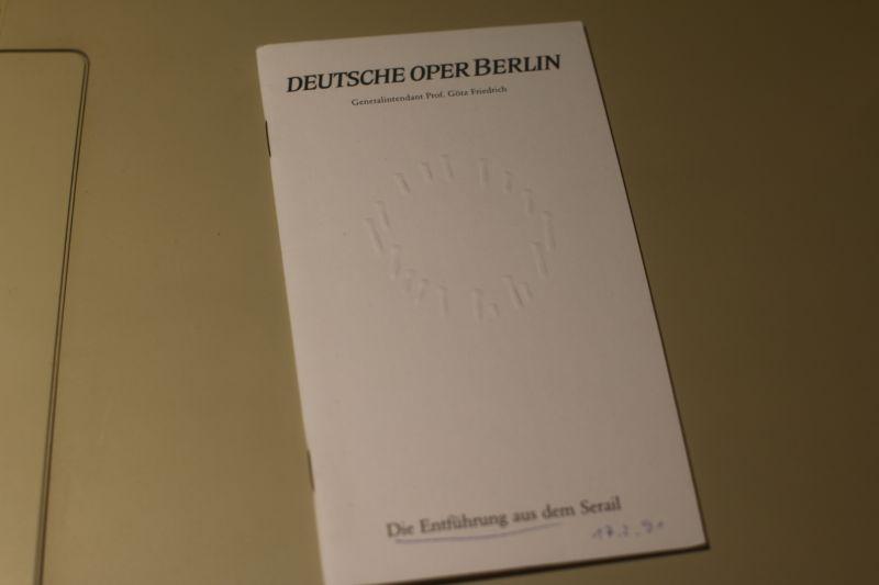 Deutsche Oper Berlin Programmheft Die Entführung aus dem Serail