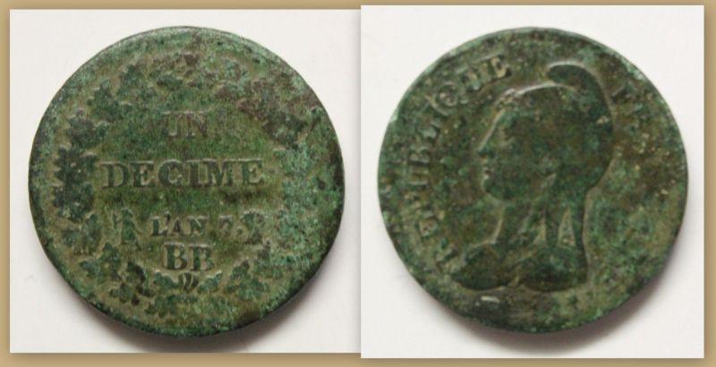 Münze Un Decime 1795-1796 1796 Frankreich Bronze Europa Währung Geschichte sf