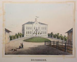 Lithografie Rosenberg Ansicht Sachsen Poenicke Schlösser & Rittergüter um 1855