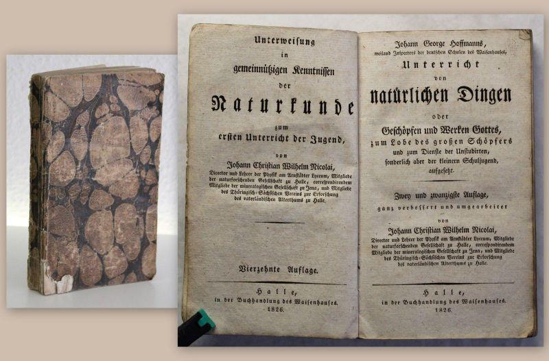Nicolai Naturkunde Hoffmanna Unterricht von natürlichen Dingen 1826 Biologie xz